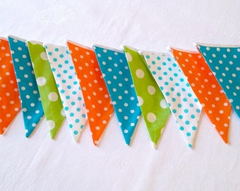 Bunting flags Fabric banner 12 flags banner Fabric garland Baby shower decor Baby bunting
