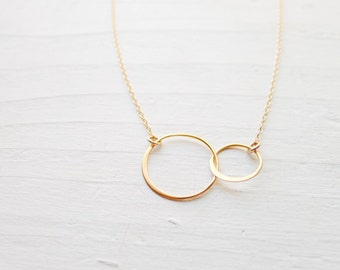 Two circle necklace etsy interlocking circle necklace gold circle pendants linked rings jewelry classic gift for best friend big and little sister aloadofball Gallery