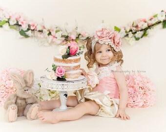 Blush Pink couture headband, baby headband, ott bow, over the top bow, pink headband, cream and pink headband, newborn headband