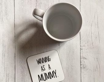 Mummy Mug and Coaster Gift Set, Winning as a mummy mug, mug, coaster, mummy, gift for mum, Positive Affirmations, Baby Shower Gift, New Mum
