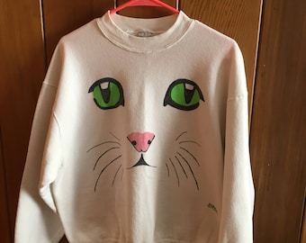 Vintage OOAK White Home Made Hand Painted Green Eyed Cat Face Sweatshirt