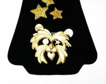 Shizu Dog Brooch - Rock Star Figural Puppy - Matte Gold Tone Retro 1980's Pin