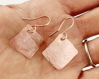 Hammered Copper Earrings, Diamond Shape
