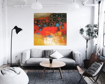 """XL lobby oil on canvas 24""""x24"""" abstract art posters fine art paper, giclee canvas 48""""x48"""" red abstract modern loft art, wall decor red gold"""