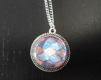 Baltik silver mosaic pattern cabochon pendant necklace