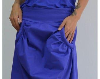 Maxi Skirt, Long skirt, Circle skirt, Cotton Skirt, Floor Length Skirt, Plus Size Maxi Skirt, Blue Skirt, A Line Skirt, Skirt With Pockets