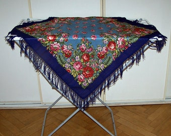 Russian Wool Scarf. Vintage Russian Shawl with Fringe. Babushka Shawl. Vintage Boho Scarf. Blue Shawl with Floral Pattern.