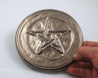 Pentagram PENTACLE Altar Tile Handmade Pottery  Gold