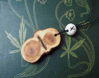 Natural English Yew Wood pendant - For the Dark Goddess - Wiccan, Witchcraft, Pagan