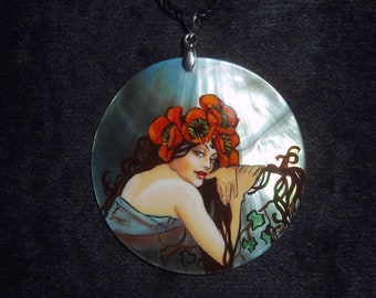 """Handpainted mother of pearl Necklace """"Summer Girl. Poppy"""" by A.Mucha ART NOUVEAU pendant"""
