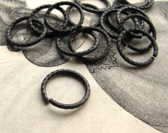 12mm etched jump ring - dark antiqued brass - (10 jump rings) aged black oxidized patina, black brass ring