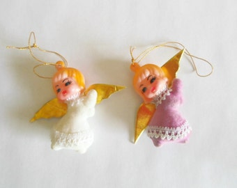2 Plastic Winged Angel Ornaments Package Stick Ons Pink and White
