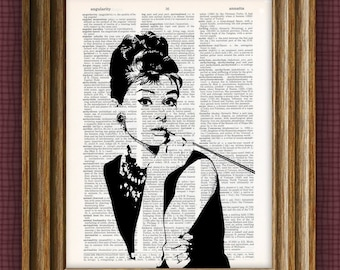 Audrey Hepburn illustration beautifully upcycled dictionary page book art print 8.5 x 11