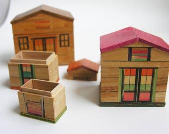 4. built wooden houses, vintage 40's. Origin, Netherlands