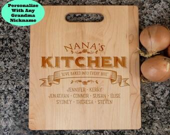 nana gift, gift for nana, nana's kitchen, nana cutting board, personalized cutting board, cutting board for nana, nana gifts, mothers day