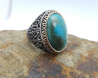 Sterling silver men ring, Natural Turquoise stone man rings