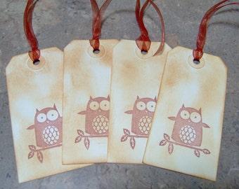 Vintage Owl Gift Tags - 4 Medium Tags
