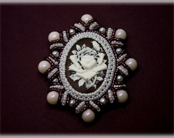 Cameoza pendant or brooch beading TUTORIAL