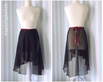 Black ballet skirt, rehearsal skirt, adult dancewear, long dance skirt, tapered cut, black chiffon, ballet clothing, dance wear, R1BLK