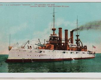 Linen Postcard, U.S. Battleship Missouri, Military Ship, ca 1910