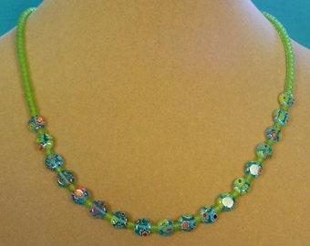"""Delicate 18"""" Milliflori Glass Necklace - N352"""