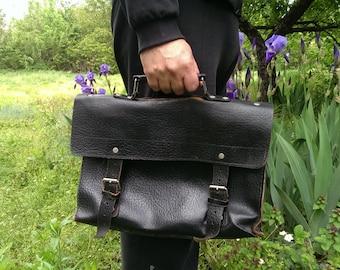 Vintage Genuine Leather Satchel Bag, Black Real Leather HandBag, Student Bag, School Bag,  Briefcase Bag from 1970s, Bag USSR type Cold War