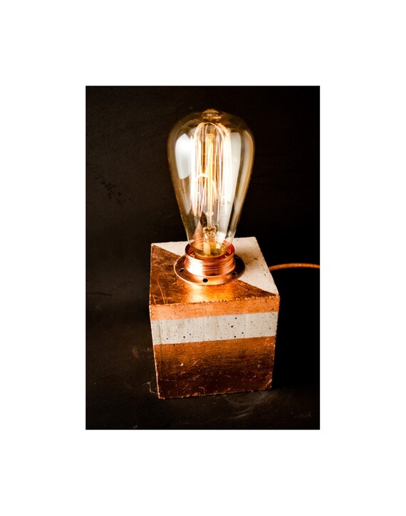 Copper Decorations Table Lamp, Industrial Concrete Copper Table Lamp,  Office Lighting, Industrial Lighting, Edison Lamp, Concrete Light