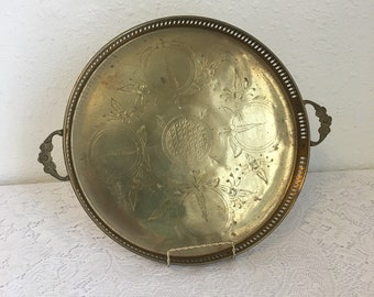 Vintage brass tray, large round brass tray, filigree dresser tray