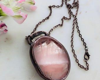 Rose Quartz antiqued copper pendant on 30 inch chain