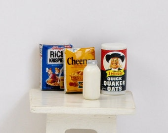 Cereal and milk for breakfast - miniature breakfast - vintage miniature foods - dollhouse decor - Farrow Industries Inc - store items