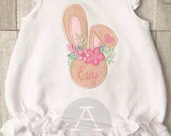 Floral Bunny Appliqué | Girls Easter | Bunny | Easter Appliqué | Shirt, Dress, or Bubble