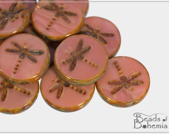 4 pcs Opaque Salmon Pink Picasso Czech Glass Table Cut Dragonfly Coin Bead 17 mm (9221)