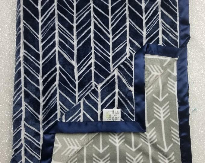 Minky Blanket Navy Blue, arrow banket, Herringbone Minky, navy and white, grey and blue, Child blanket, adult minky, baby blanket, baby boy