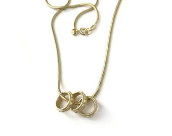 Vintage Brushed Gold Plated Three Rings Necklace