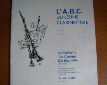 Booklet, method of learning clarinet, Vintage, 1975, french, Guy Dangain