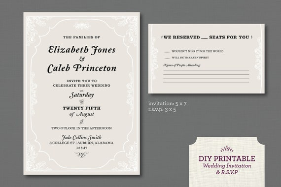 Items similar to printable wedding invitation and rsvp card items similar to printable wedding invitation and rsvp carddigital pdf fileivory victorian framesale on etsy stopboris Gallery