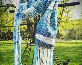 Custom Hand Woven Scarf made with Hand Dyed - Hand Spun Wool Yarn - Dandelions & Daisies - Mother's Day Gift