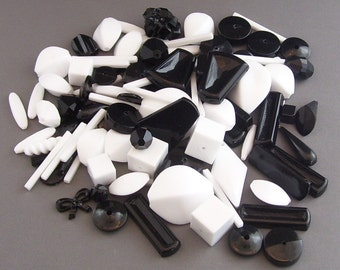 100 Assorted Black and White Vintage Lucite Beads // Bead Destash Mix