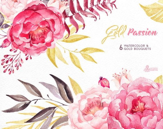 Gold passion 6 bouquets watercolor hand painted clipart peonies gold passion 6 bouquets watercolor hand painted clipart peonies floral wedding invite pink greeting card diy art flowers glitter from octopusartis m4hsunfo