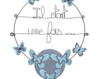 Wall hanging wire - colorful Message: once upon a time-blue - butterfly