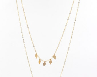 DANGLE DIAMOND CHARM Necklace // Delicate Gold Charm Necklace - Gold Layering Necklace Sets - Minimal Multi-strand Necklace - Gold Filled