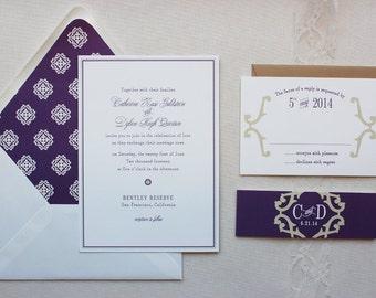 Wedding Invitation, Classic Wedding Invitations Suite, Vintage, Elegant, Purple, Custom Wedding Invitation Set - Bellevue Sample