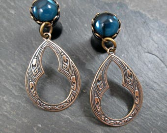 Dangle Plugs - 10g - 8g - 6g - 4g - 2g - 0g - Tribal Gauges - Antiqued Brass - Gothic Plugs - Gothic Jewelry - Plug Earrings