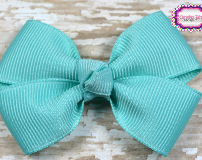 Aqua Hair Bow 2.5 Inch Pinwheel Boutique Bow for Babies Toddlers Girls Hair Bows