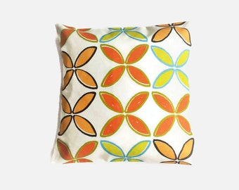 Geometric Pillow, Trendy Cushion, Mid-Century Feel, Abstract Flowers, Ivory Pillow, Modern Retro Style,  New Home, Retro Throw Pillow