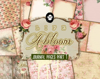 Rose Journaling Kit – Life Abloom Journal Pages Part 1 - 11 pgs Instant Download - vintage junk journal, floral paper, junk journal kit
