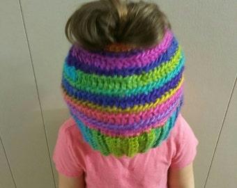 Colorful messy bun hat