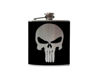 Punisher Flask- whiskey, liquor, wedding, bridal party,- Personalized Custom - YOU pick COLOR