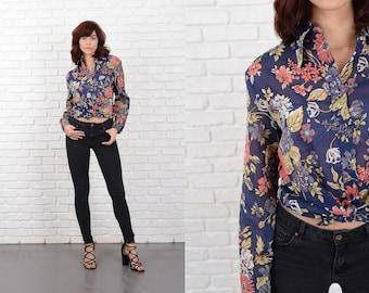 Vintage 70s 80s Blue Sheer Shirt Top Blouse Floral Print Button-down Floral M L 10773