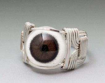 Brown Glass Eye Eyeball Sterling Silver Wire Wrapped Ring - Made to Order and Ships Fast!
